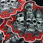 Панк-нашивка с черепами