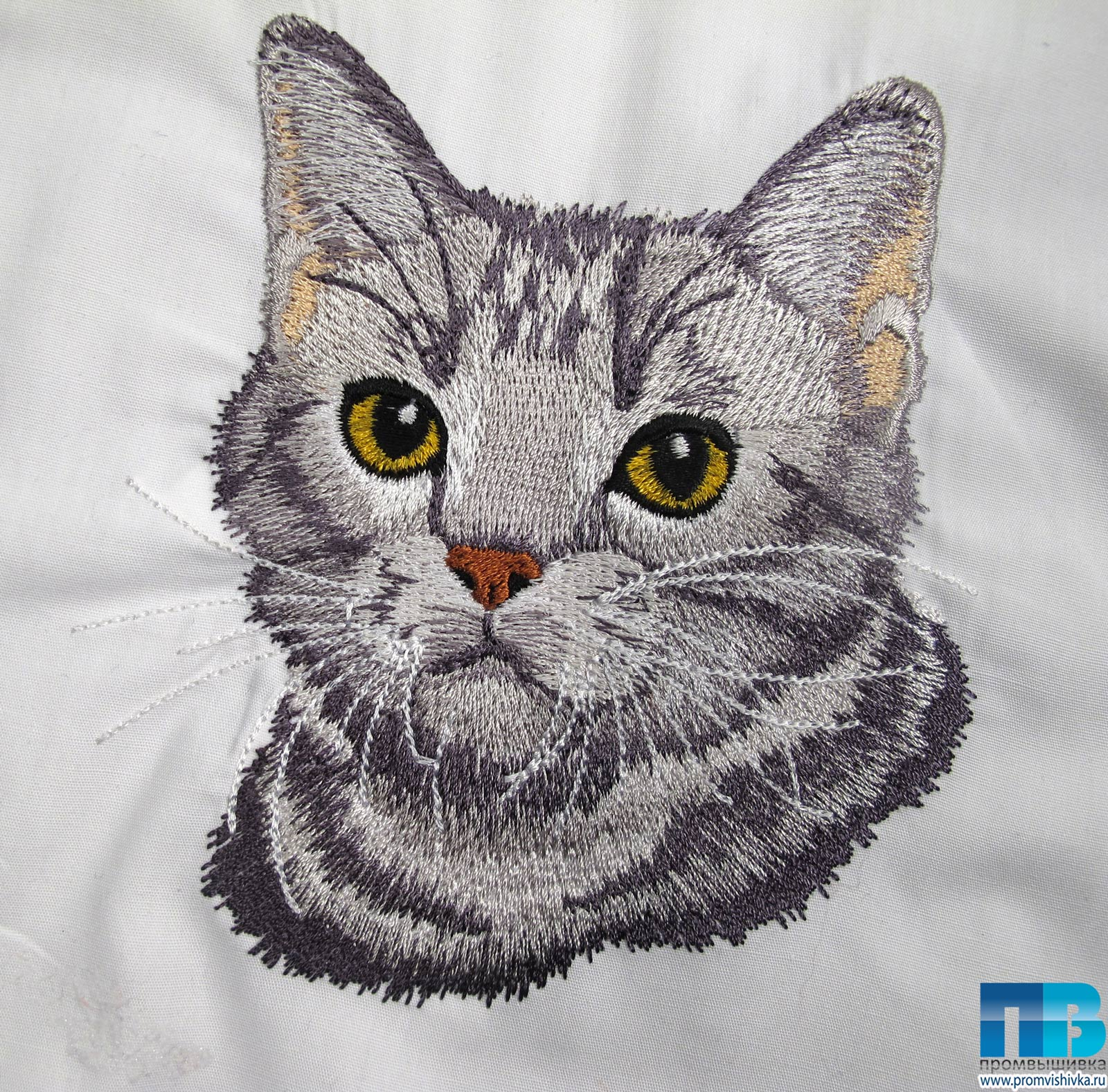 Схема вышивки котика на кармане