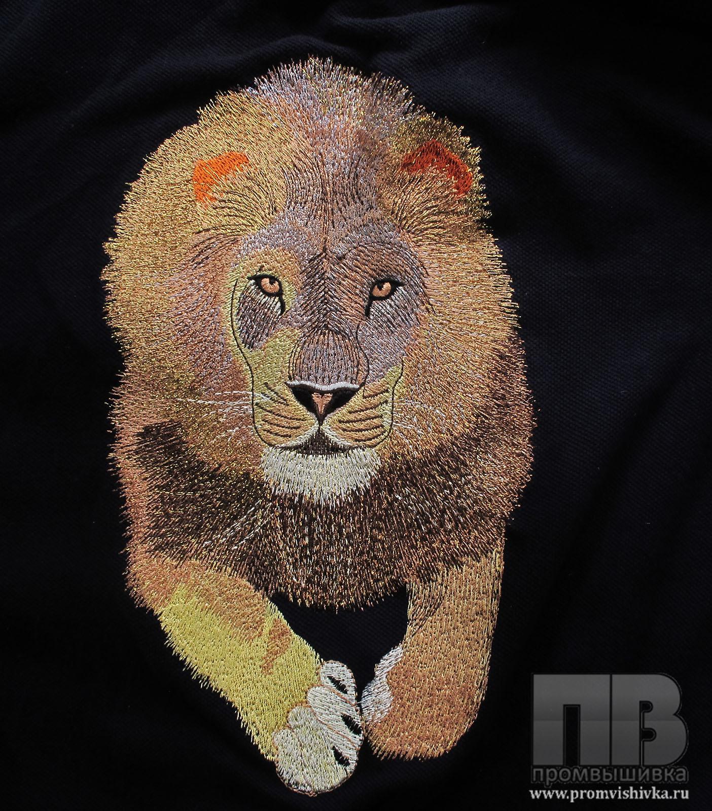 Вышивка по фотографии на заказ льва на поло