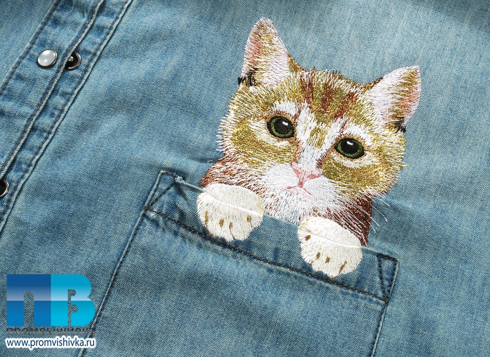 Вышивка котенок с нитками