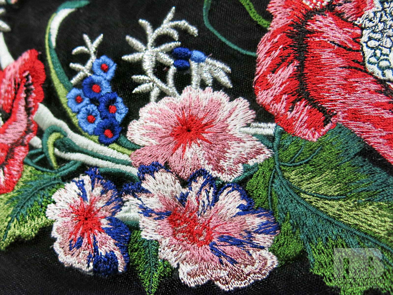 Ткань фатин с вышивкой купить