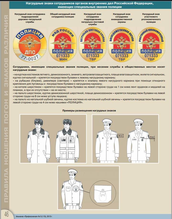 Нагрудные знаки полиции и их
