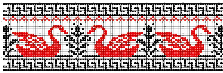 Схема вышивки рушника: лебеди