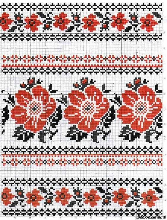 Схема вышивки крестом рушника: