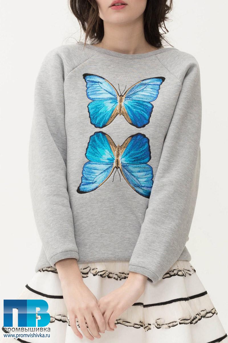 Вышивка бабочек на свитшотах FLASHIN