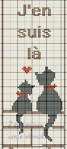 Схема вышивки чёрного кота