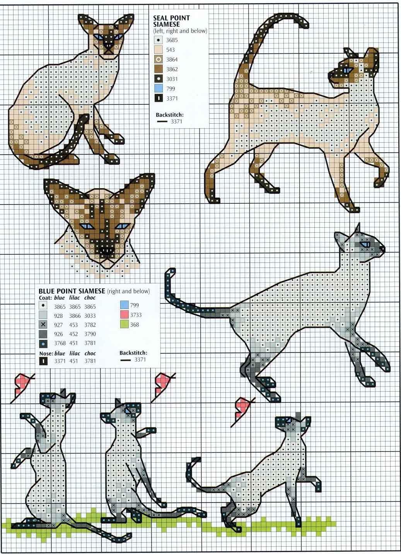 Коты котята кошки схема вышивки