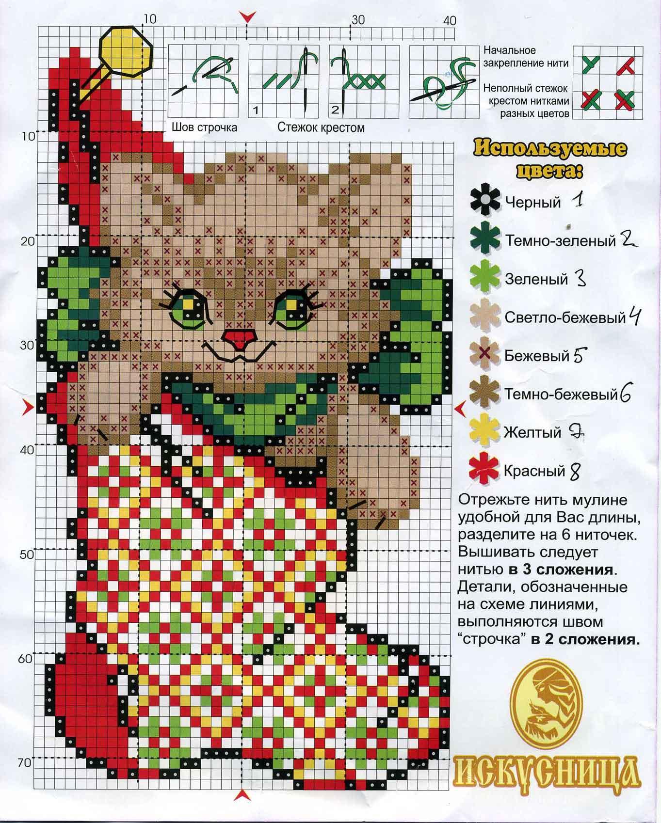 Схема вышивки крестом для рождественского
