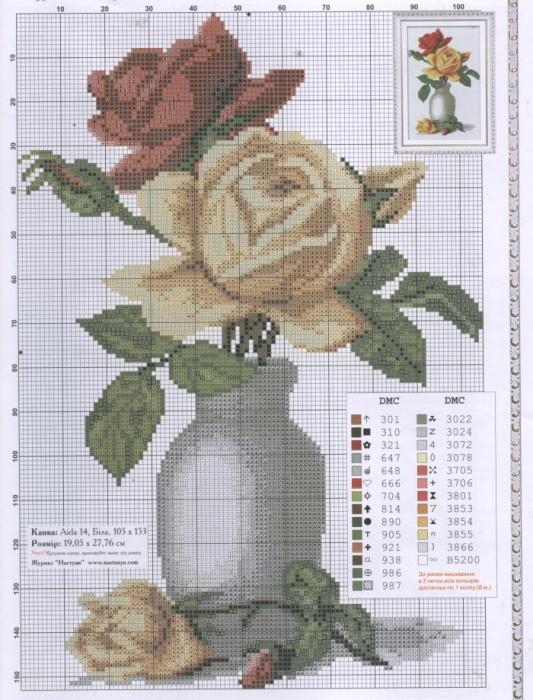 Вышивка крестиком букет в вазе