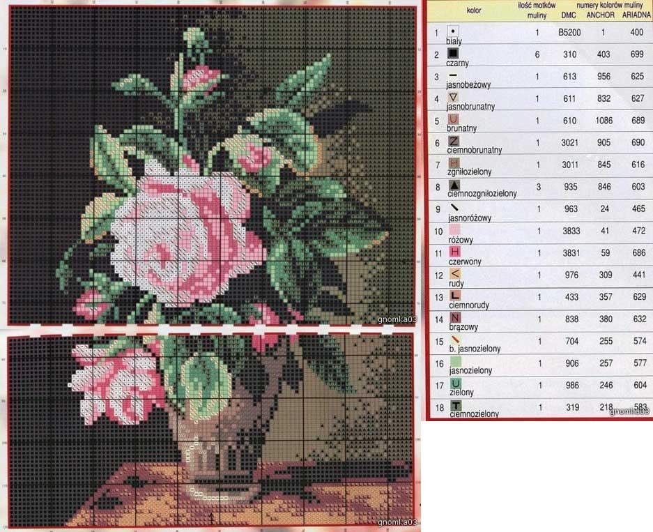 Розы для вышивки крестом на рушнике