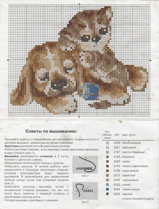 Схема вышивки крестом кошка с собакой