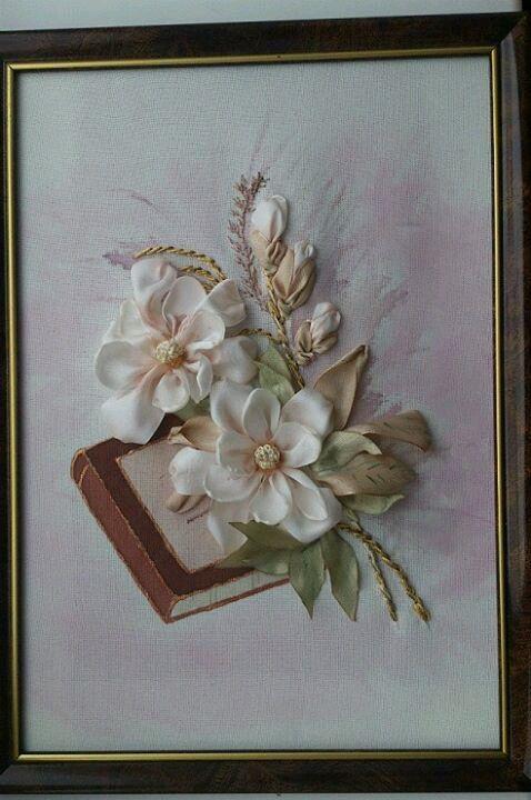 Вышивка лентами свадебная открытка, утро любовь
